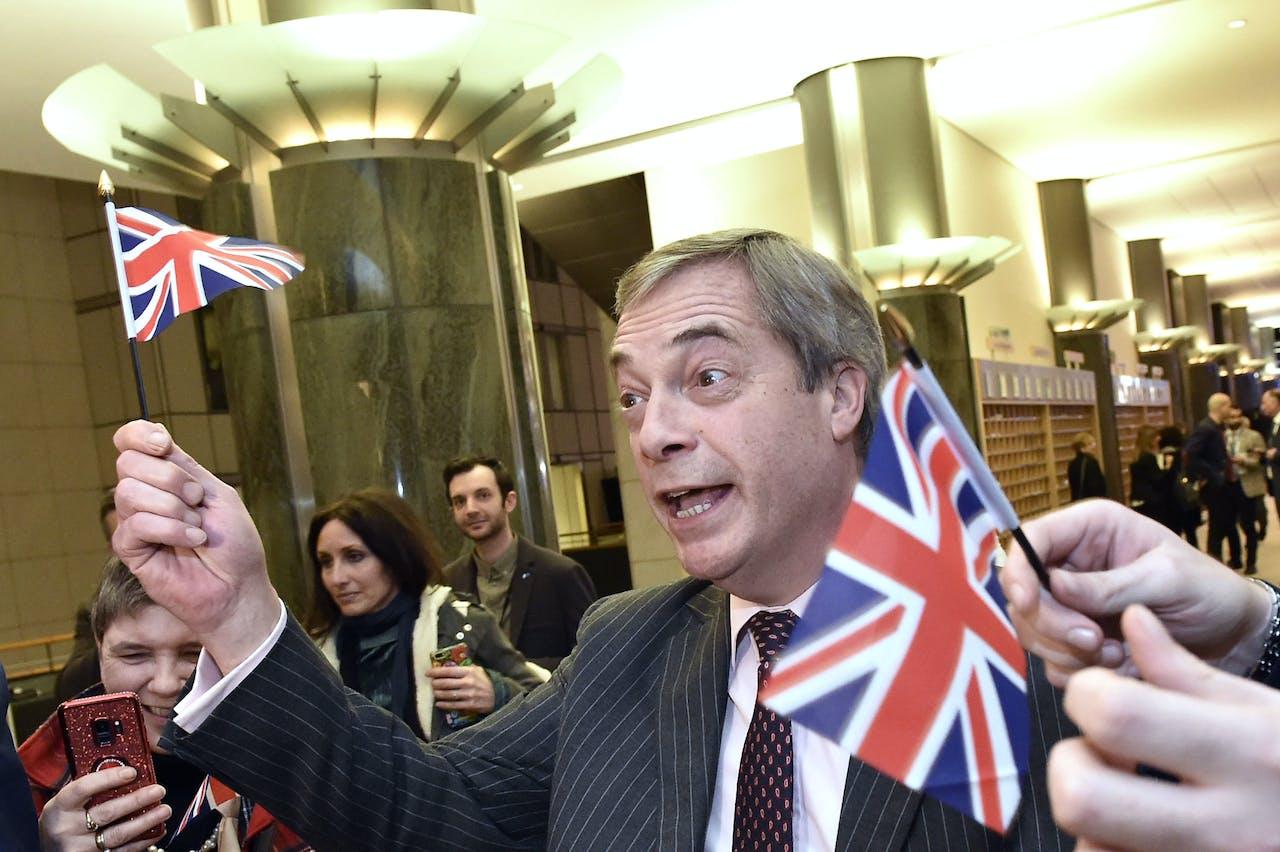 Nigel Farage tijdens zijn laatste dag in het Europees Parlement