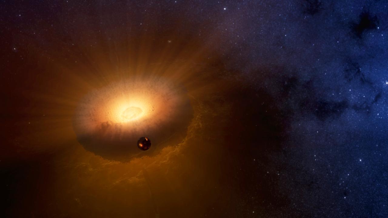 Zo zag het er misschien uit, toen de Maan zo'n 4,5 miljard jaar geleden ontstond in een donutvormige wolk rond de Aarde
