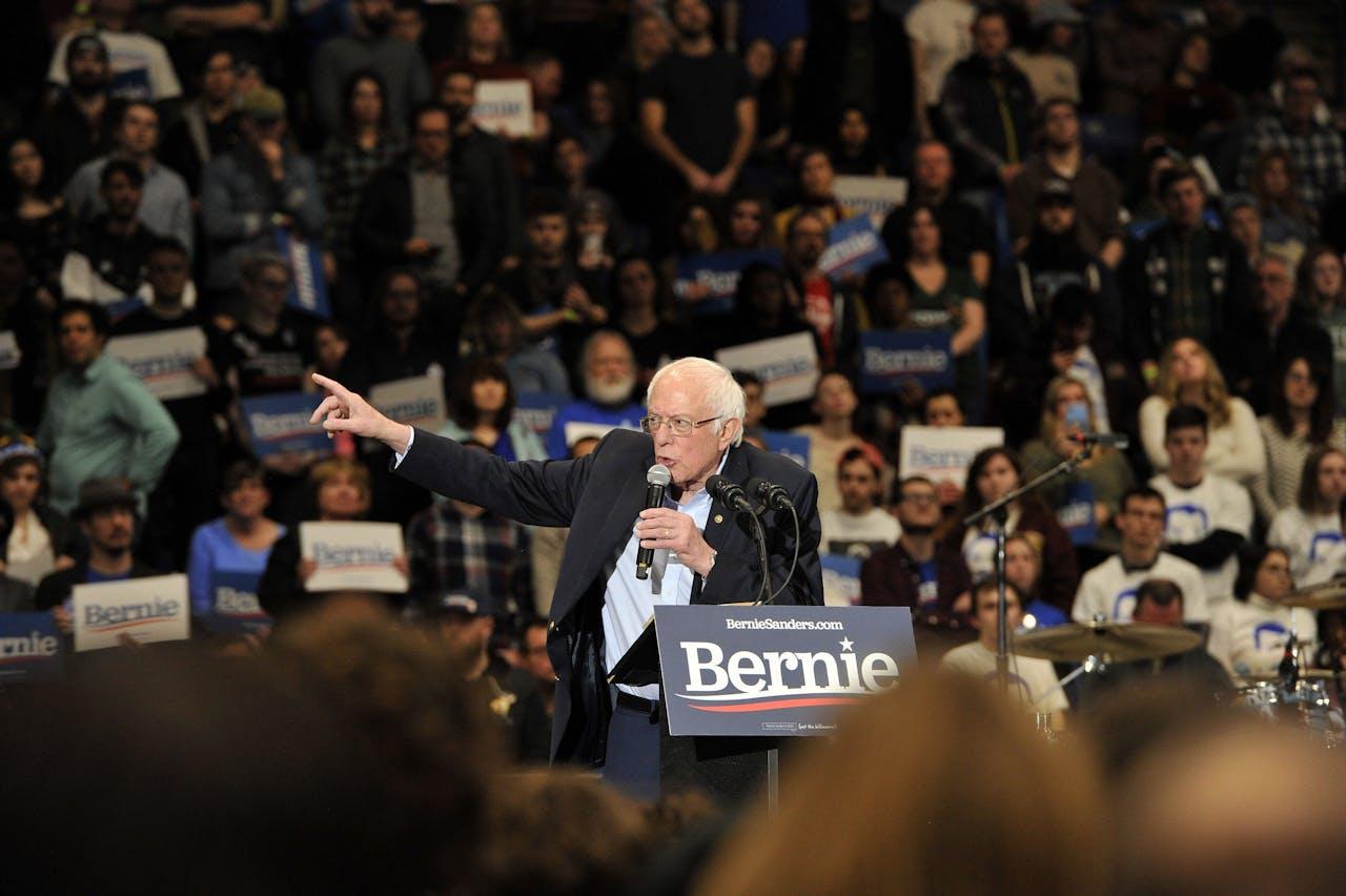 Kandidaat Bernie Sanders in New Hampshire