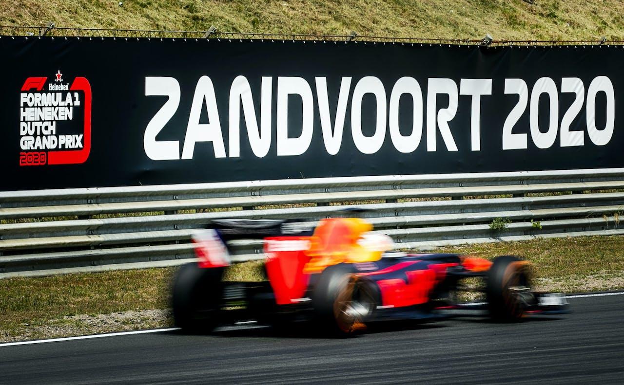 Coureur Max Verstappen tijdens de vierde editie van de Jumbo Familie Racedagen op het Circuit Park Zandvoort.