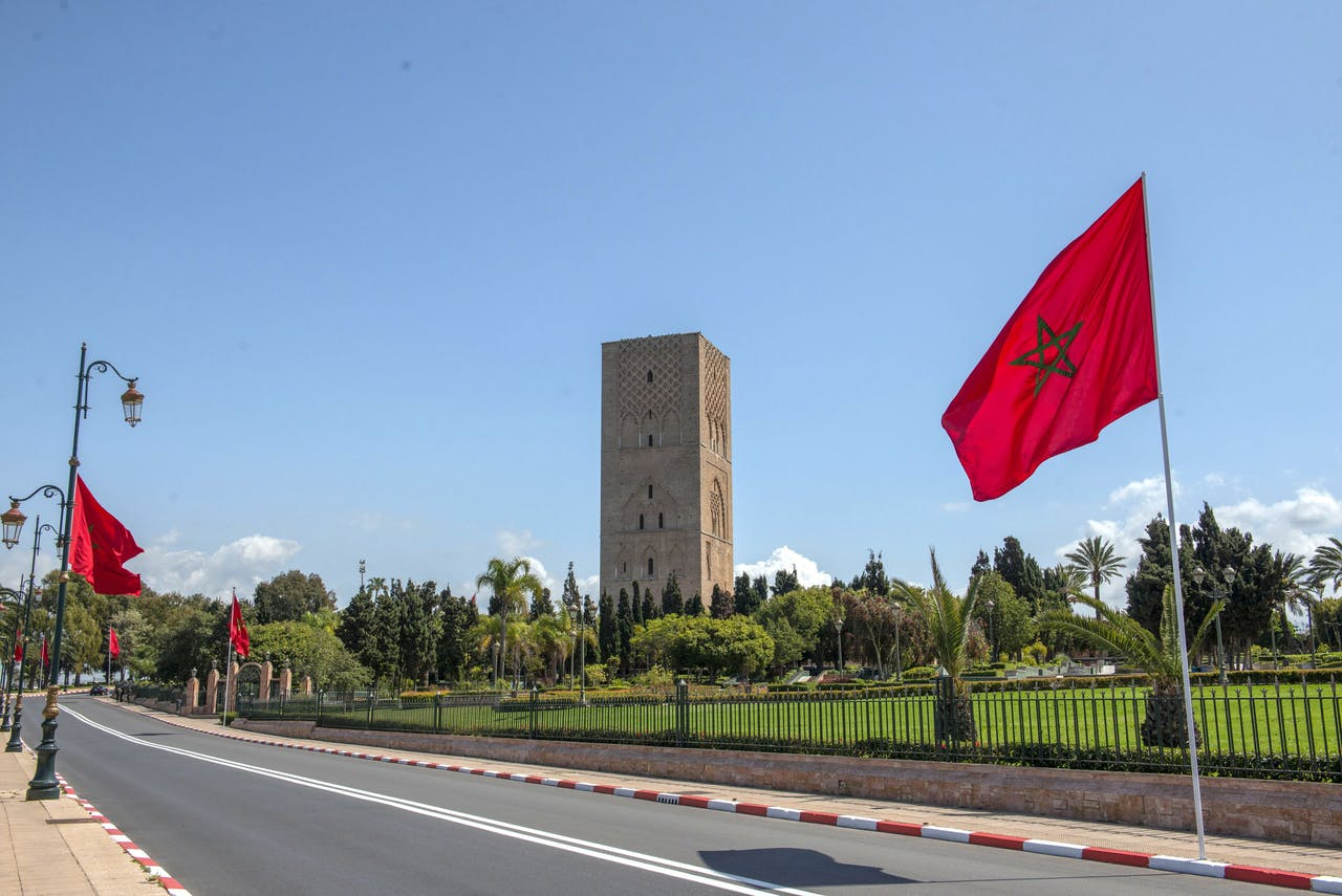 Lege straten in de Marokkaanse hoofdstad Rabat vanwege de lockdown.
