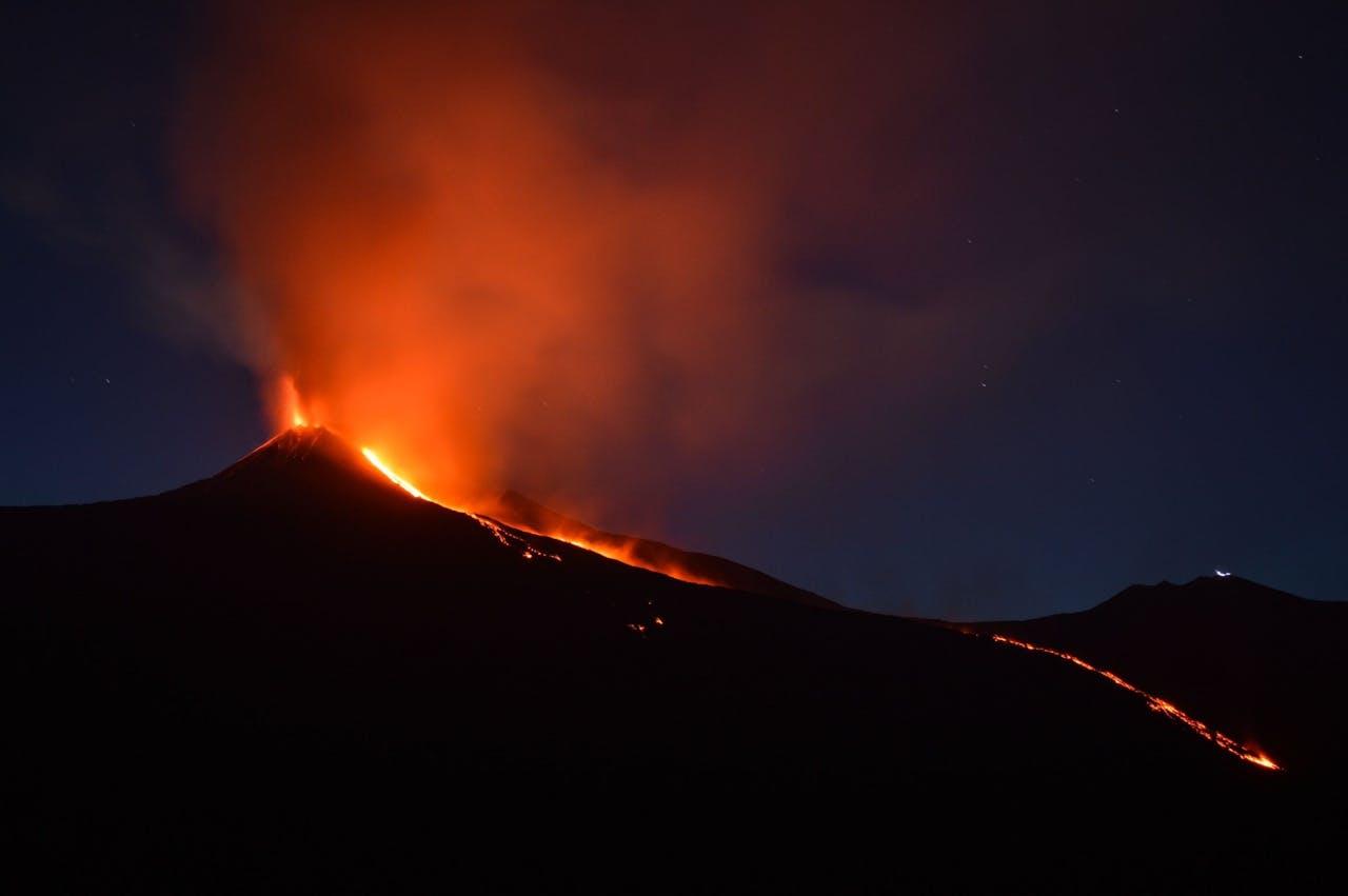 Uitbarsting van de Etna in Italië