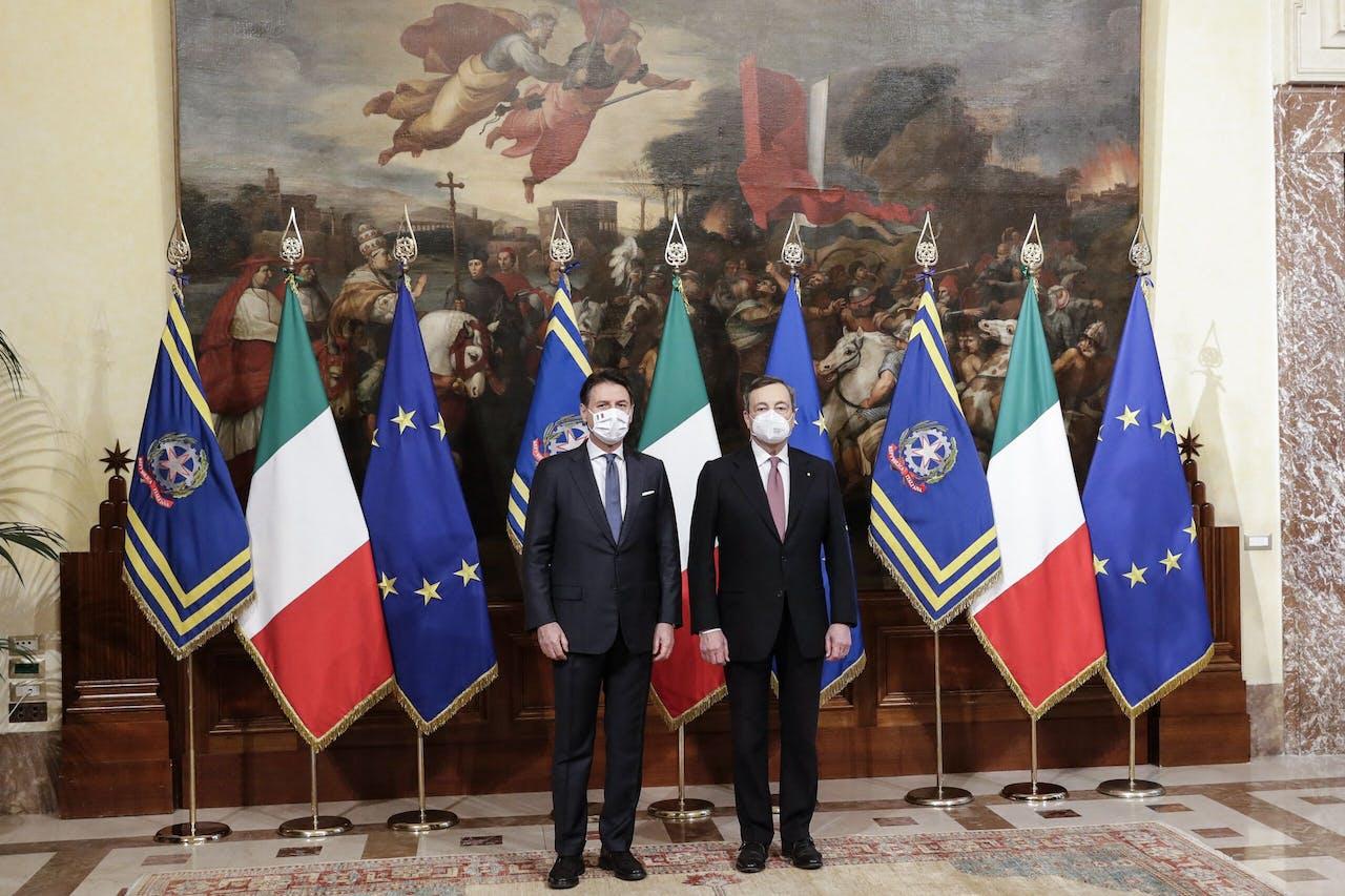 Giuseppe Conte en Mario Draghi
