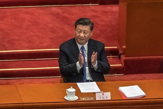Chinese president Xi Jinping tijdens het Volkscongres