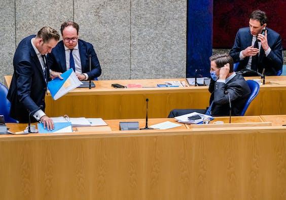 Hugo de Jonge, Wouter Koolmees, Mark Rutte en Wopke Hoekstra