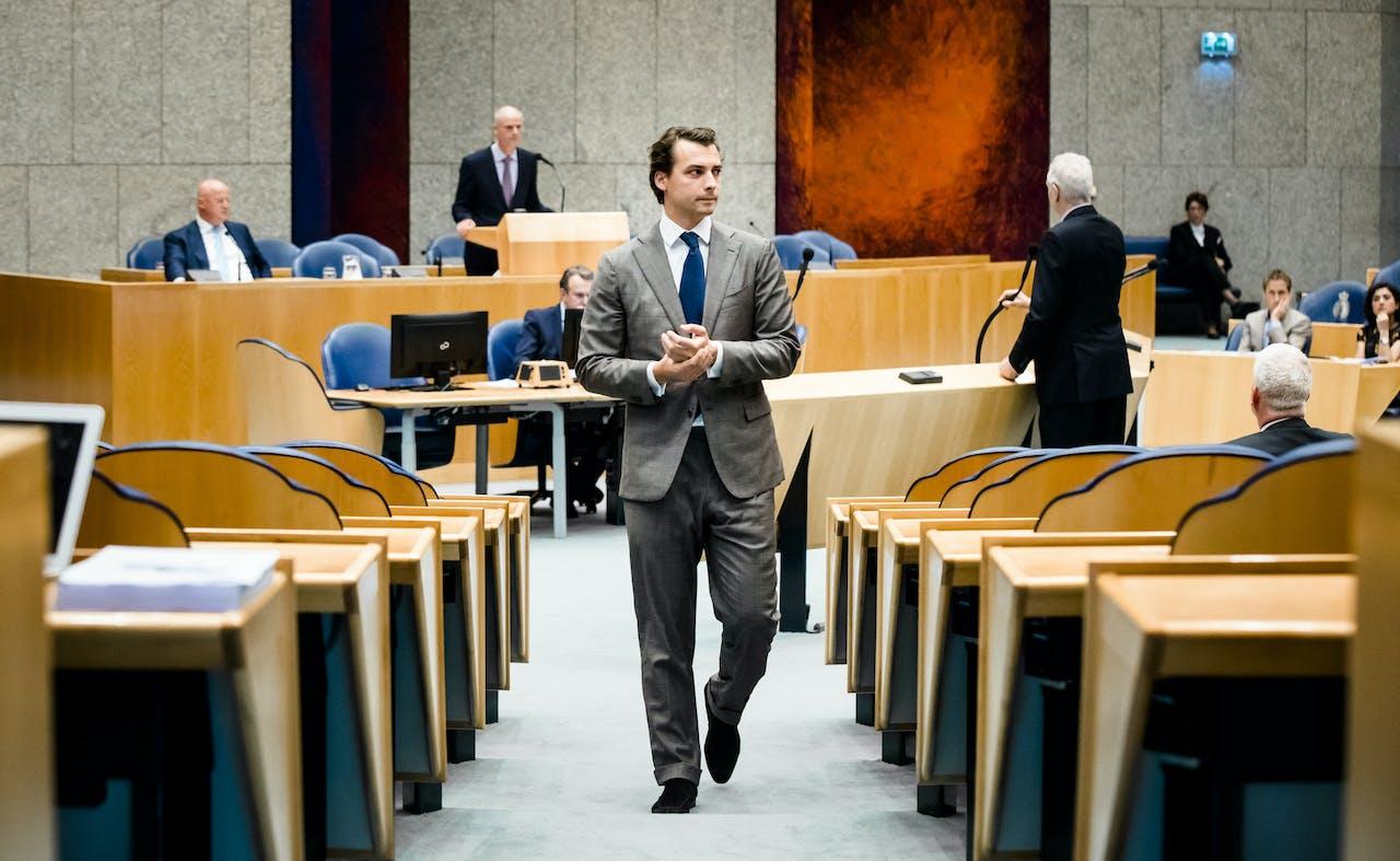 Minister Ferdinand Grapperhaus van Justitie en Veiligheid (CDA), Minister Stef Blok van Buitenlandse Zaken (VVD) en Thierry Baudet (FvD) tijdens het Tweede Kamerdebat over het kabinetsbesluit om Rusland aansprakelijk te stellen voor de MH17-ramp.