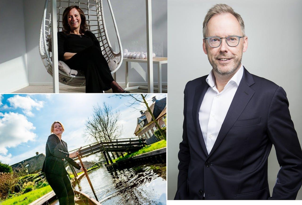 Evelyn Borgsteijn (linksboven, foto © Dries Buimer), Gabriella Esselbrugge (linksonder) en Jos Vranken (rechts)