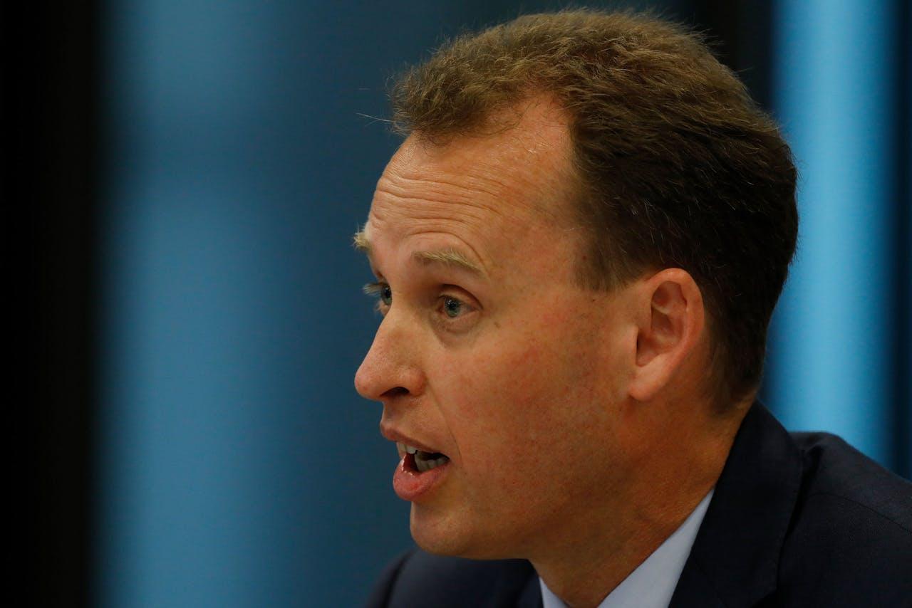 Frank Elderson, directeur van De Nederlandsche Bank (DNB), tijdens de hoorzitting in de Tweede Kamer inzake de schikking van ING wegens het faciliteren van witwassen. ANP BAS CZERWINSKI
