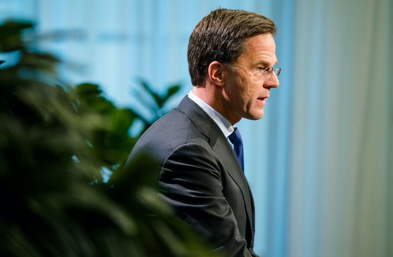 Premier Mark Rutte na afloop van de wekelijkse ministerraad.