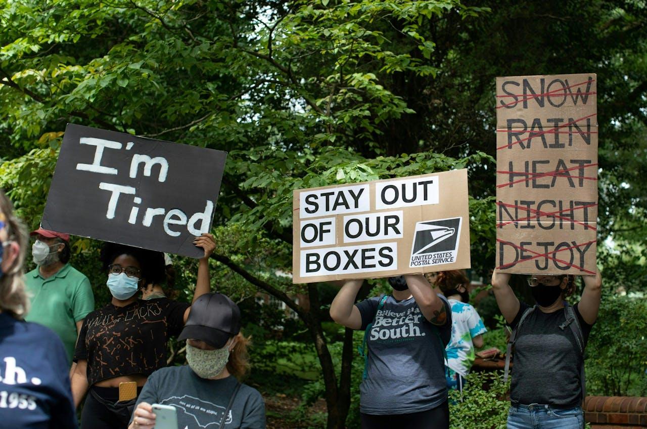 Protesten tegen de 'vertraging' van de Amerikaanse postbezorging