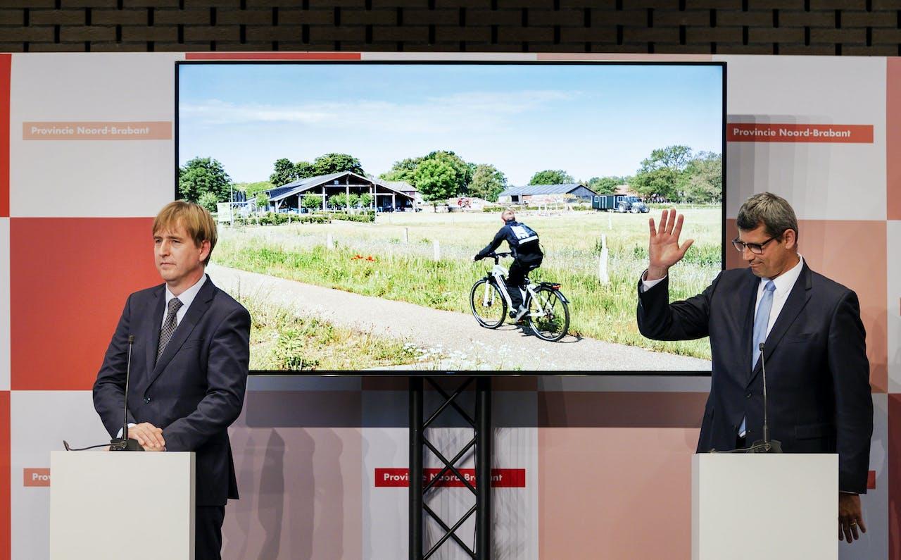Beoogd gedeputeerden Eric de Bie (FvD) en Erik Ronnes (CDA) tijdens de presentatie van het bestuursakkoord van de Provinciale Statenfracties voor Noord-Brabant.