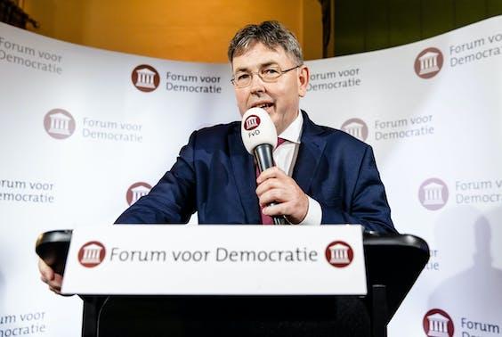 Derk Jan Eppink tijdens de uitslagenavond van de Europese Verkiezingen 2019