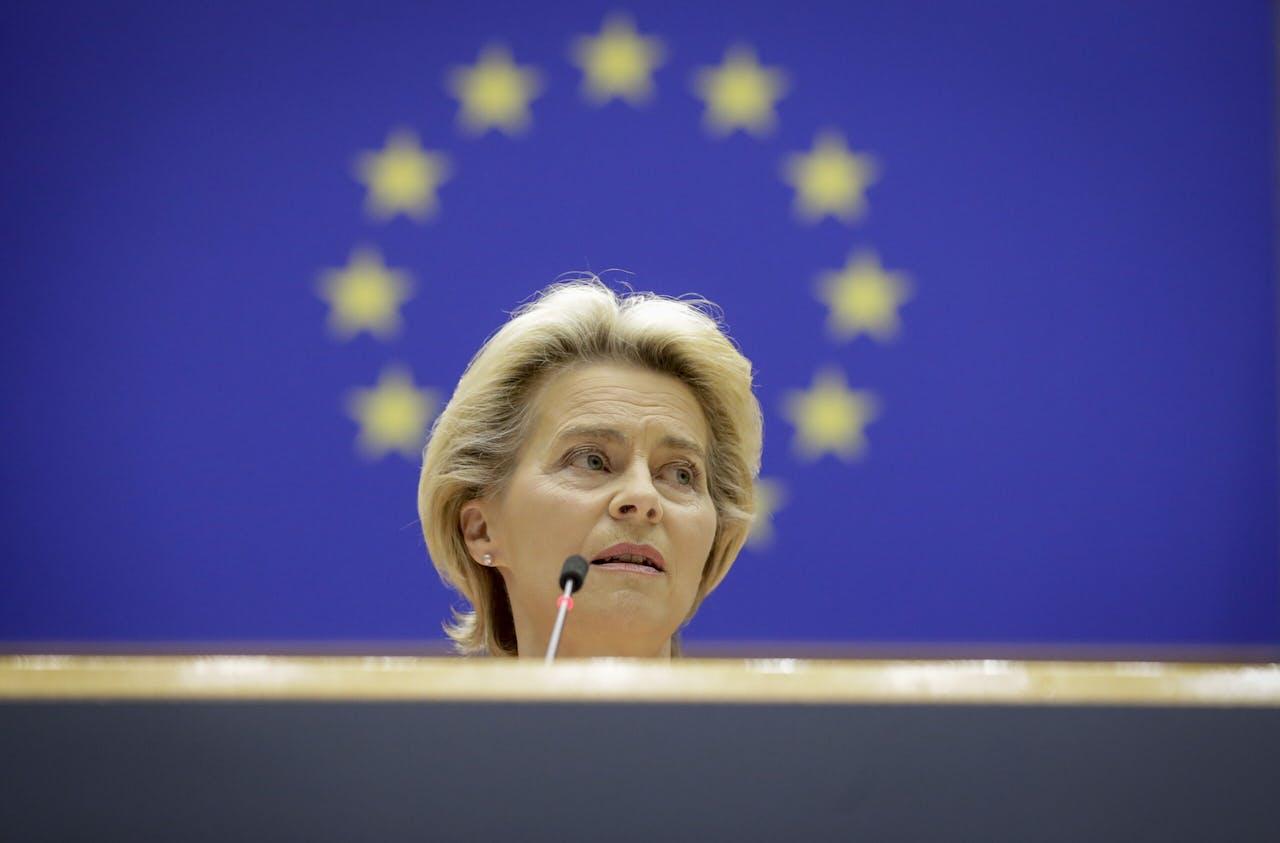 Voorzitter van de Europese Commissie Ursula von der Leyen tijdens haar Staat van de Unie-toespraak.