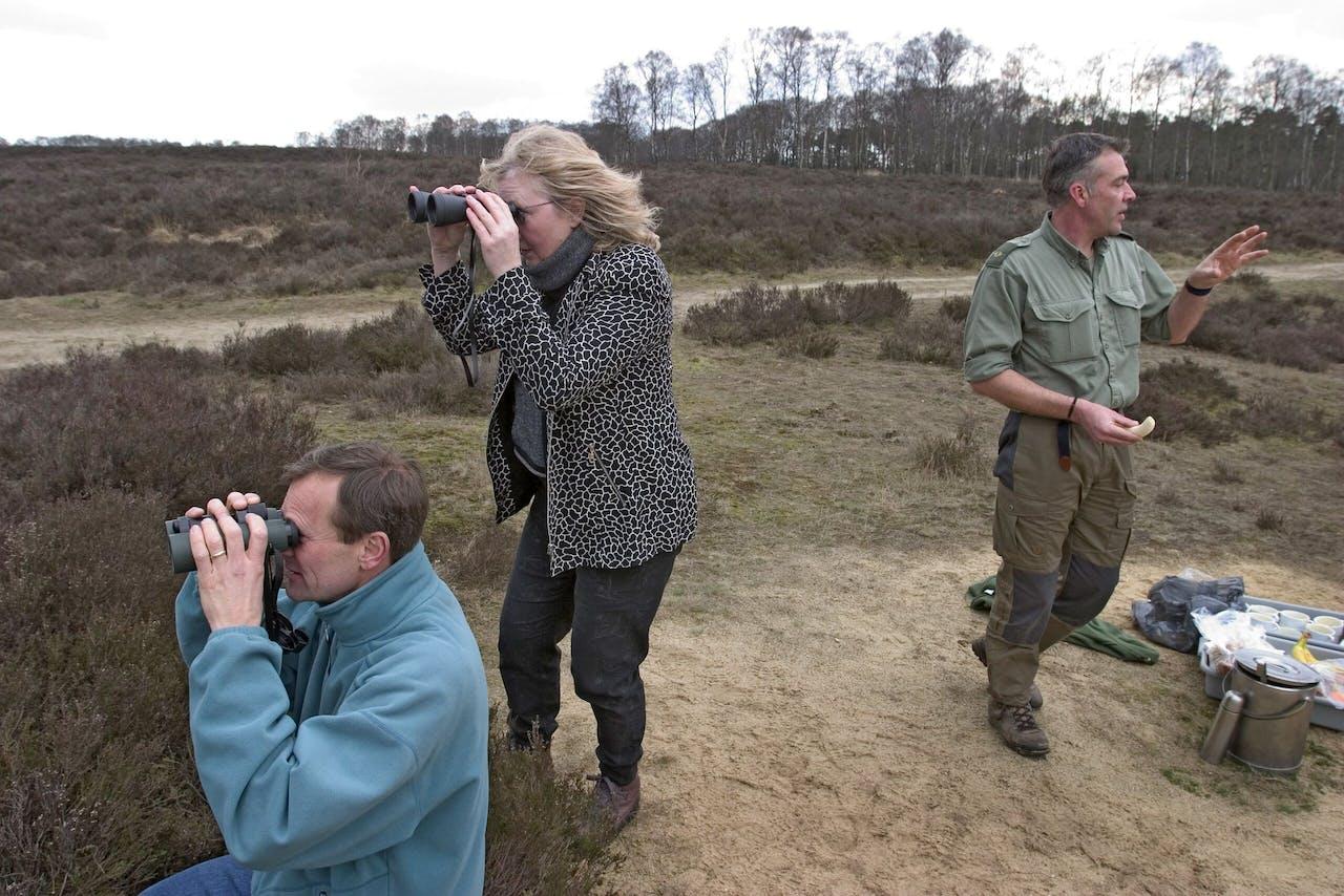 Speuren naar wild terwijl de boswachter bezig is met de lunch voor deze deelnemers aan een wildsafari in het Nationale Park de Hoge Veluwe.