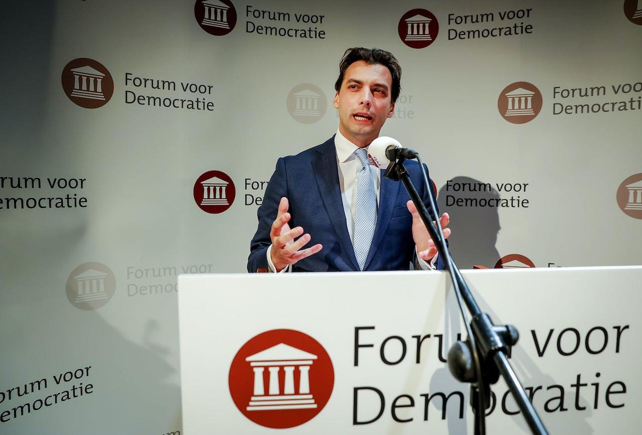 2019-03-21 00:52:28 ZEIST - Lijsttrekker Thierry Baudet van Forum voor Democratie (FvD) tijdens de uitslagenavond van de Provinciale Statenverkiezingen en de waterschapsverkiezingen. ANP BART MAAT