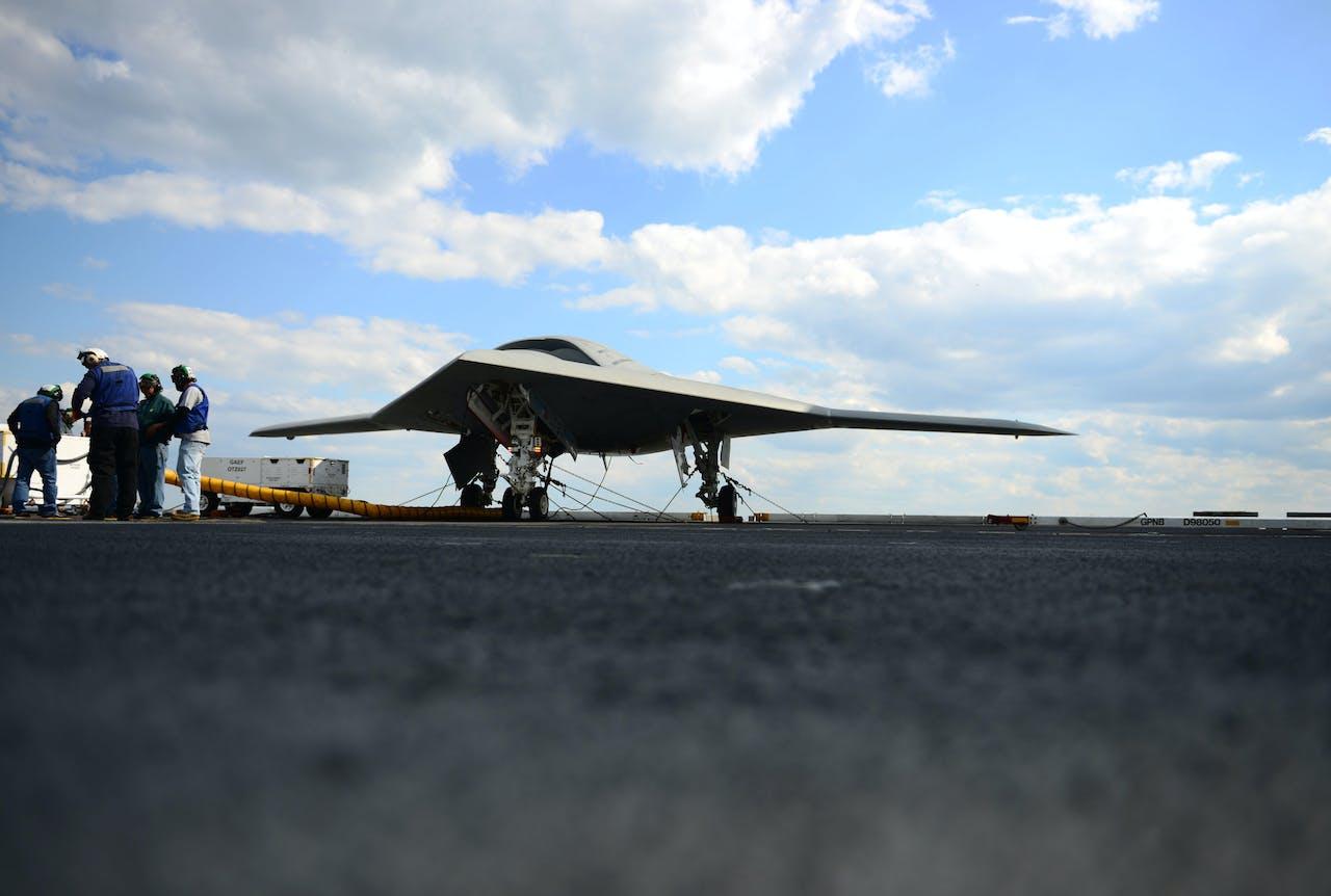 Demonstratie van een X-47B 'Unmanned Combat Air System' (UCAS)