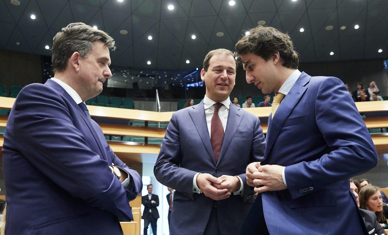 V.l.n.r.: Emile Roemer (SP), Lodewijk Asscher (PvdA) en Jesse Klaver (GroenLinks).