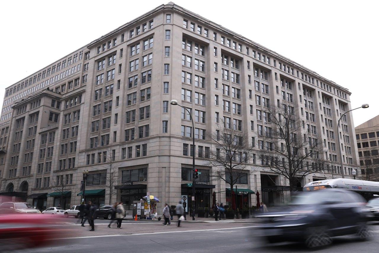 Het hoofdkantoor van investeringsmaatschappij de Carlyle Group in Washington D.C.