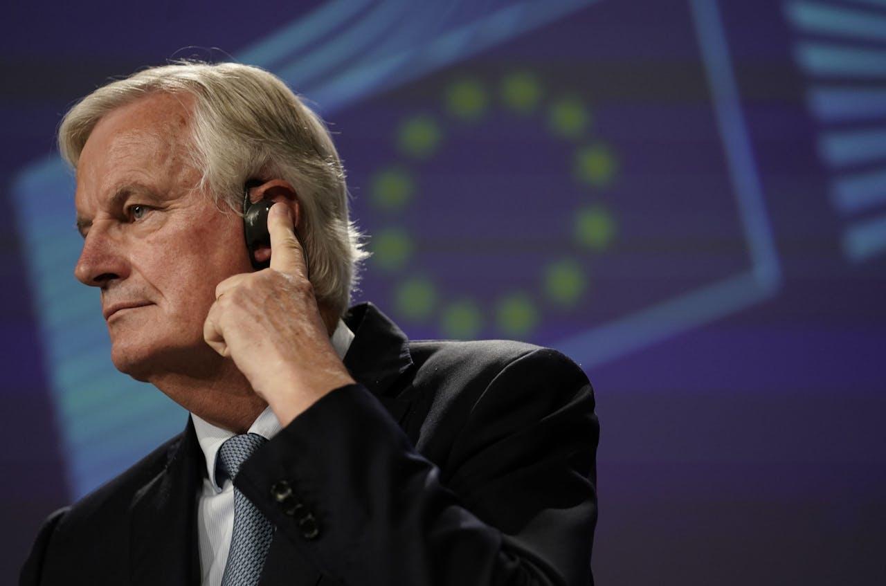 Brexitonderhandelaar Michael Barnier geeft een persconferentie