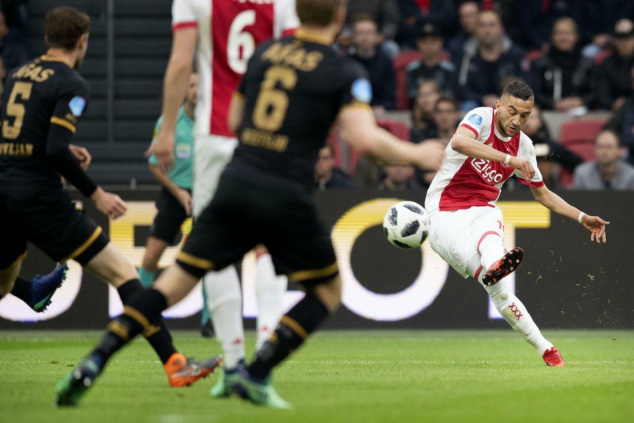 Hakim Ziyech van Ajax in actie tegen AZ