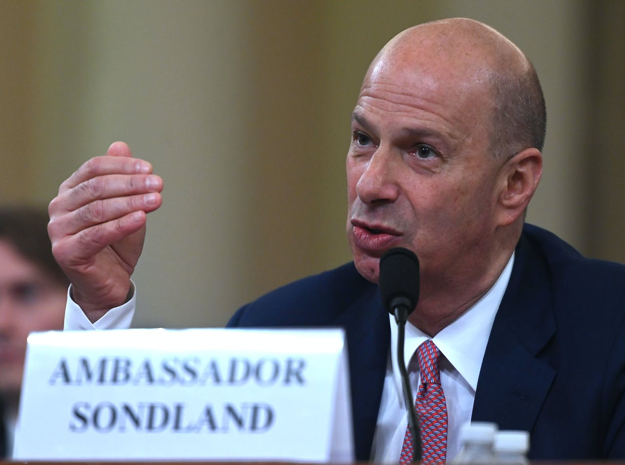 "2019-11-20 18:25:31 US Ambassador to the European Union Gordon Sondland testifies during the House Intelligence Committee hearing as part of the impeachment inquiry into US President Donald Trump on Capitol Hill in Washington,DC on November 20, 2019. The US ambassador to the European Union told an impeachment hearing Wednesday that he was following the orders of President Donald Trump in seeking a ""quid pro quo"" from Ukraine. Gordon Sondland -- whose appearance before Congress is being watched especially closely as he was a Trump ally -- said he believed the president was pressing Ukraine to investigate his potential 2020 rival Joe Biden. Andrew CABALLERO-REYNOLDS / AFP"