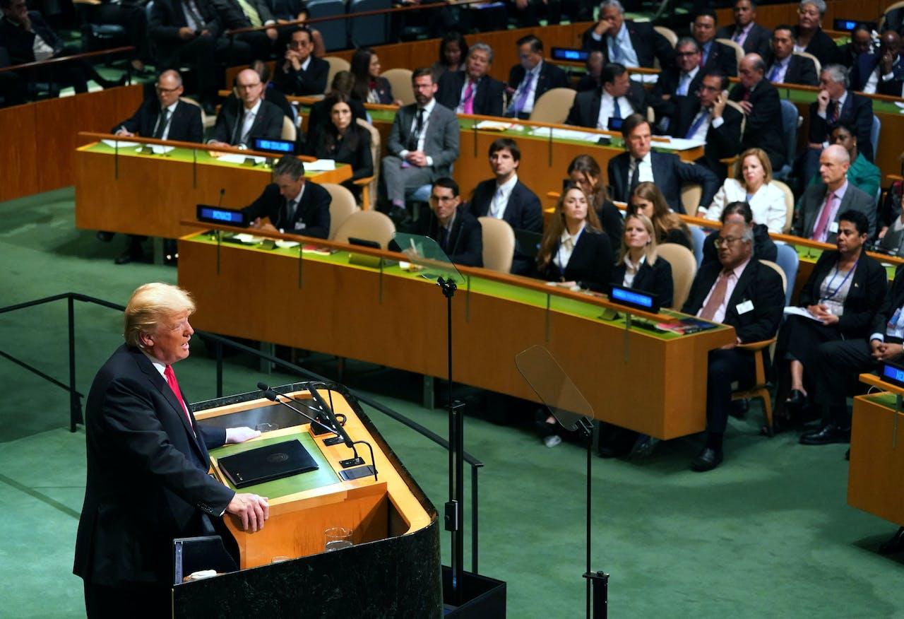 Trump spreekt de Algemene Vergadering toe.