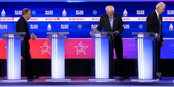Michael Bloomberg, Bernie Sanders en Joe Biden