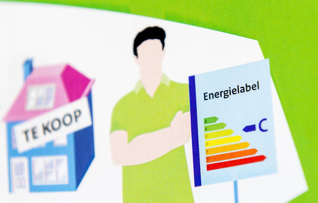 Een folder met uitleg over de energielabel voor woonhuizen. Vanaf nu moeten huiseigenaren die hun huis verkopen of verhuren een nieuw energielabel regelen.