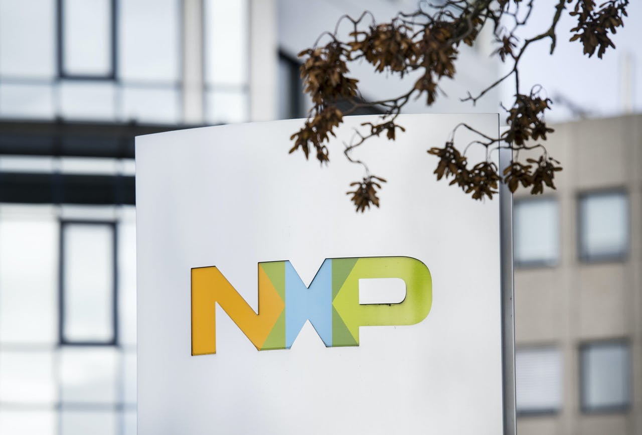 Logo van chipproducent NXP.