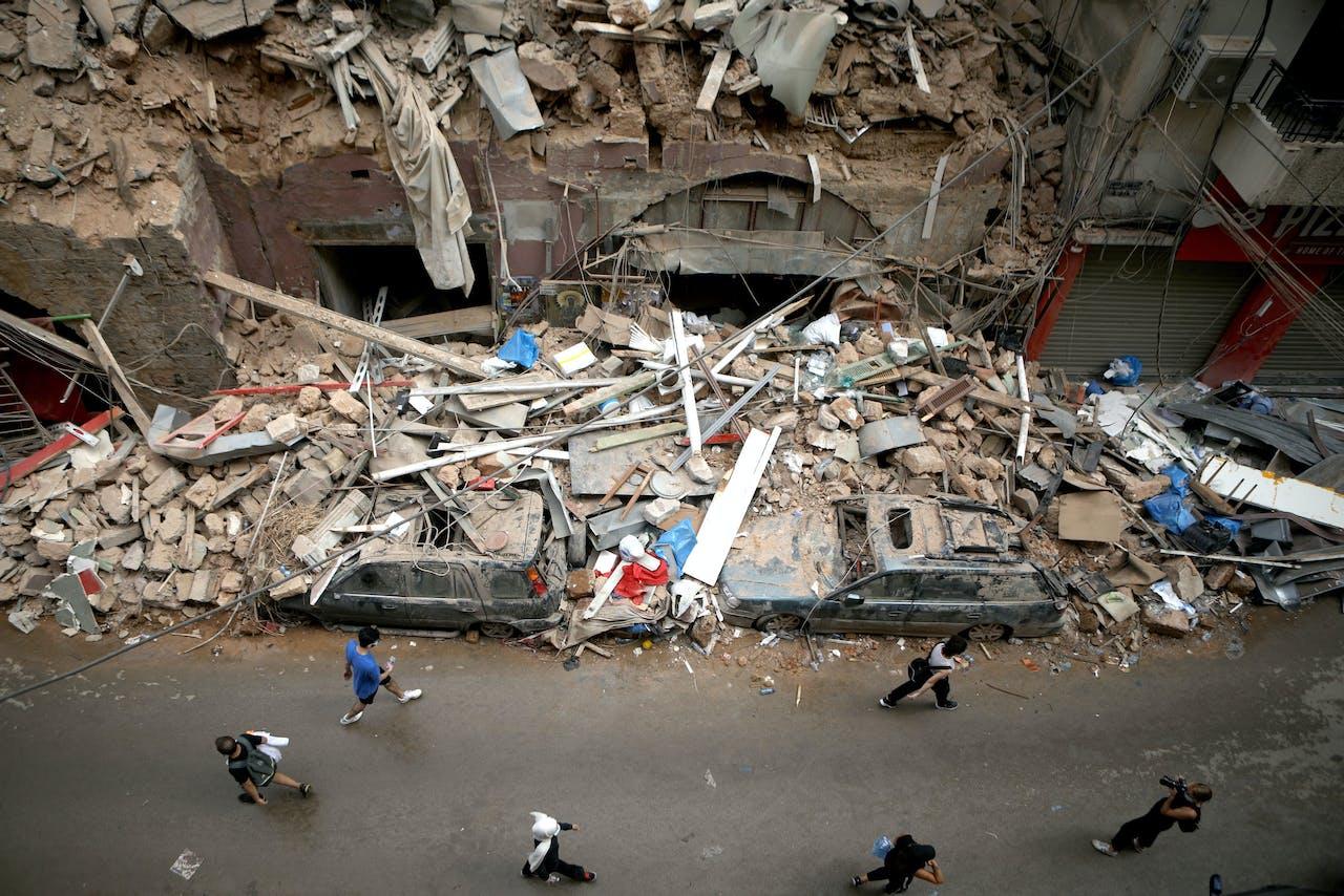 Ingestort gebouw in Beiroet