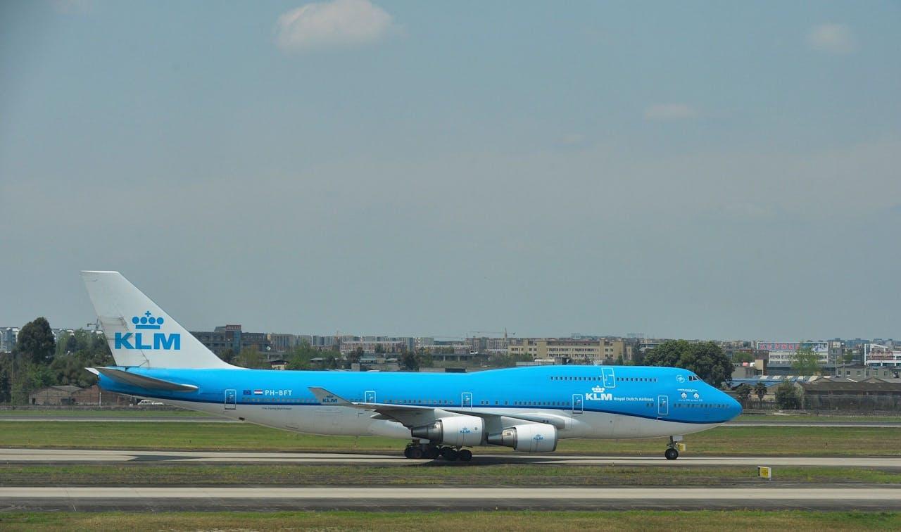 Een KLM-vliegtuig in Chengdu