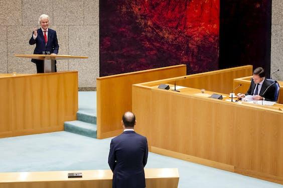 Geert Wilders (PVV), Lodewijk Asscher (PvdA) en premier Rutte tijdens debat in Tweede kamer over de Europese Top.
