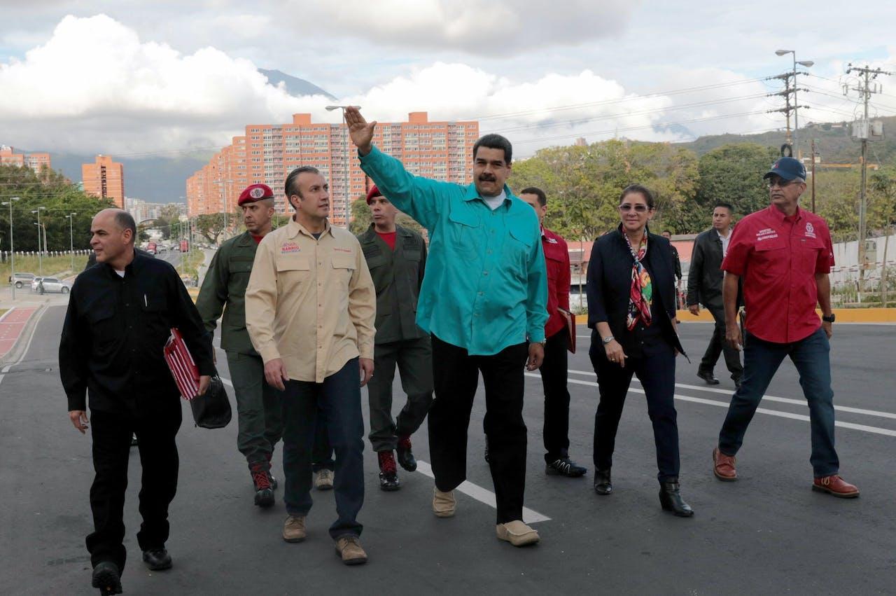 De Venezolaanse president Nicolas Maduro (Midden), vorige maand tijdens een regeringsbijeenkomst in de hoofdstad Caracas.