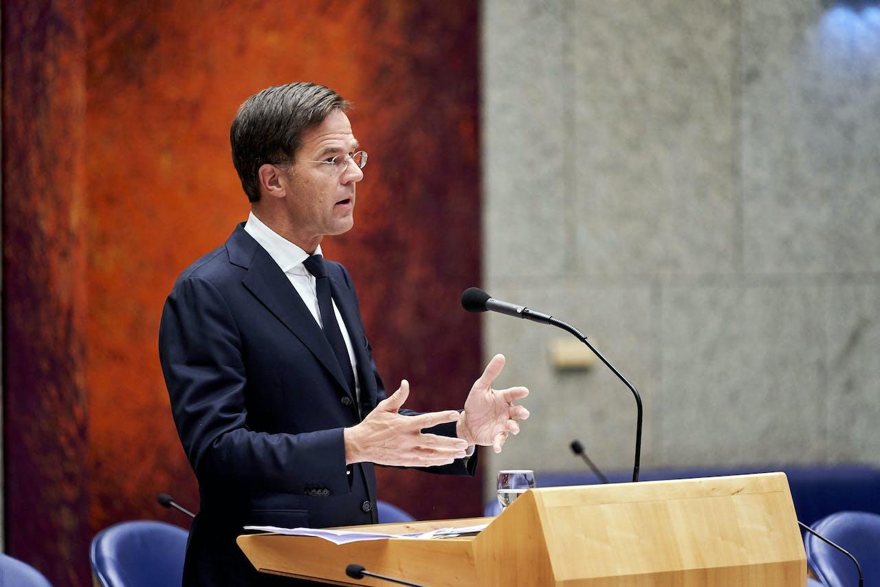 Premier Mark Rutte tijdens het debat in de Tweede Kamer over de Turkse inval in Syrië.