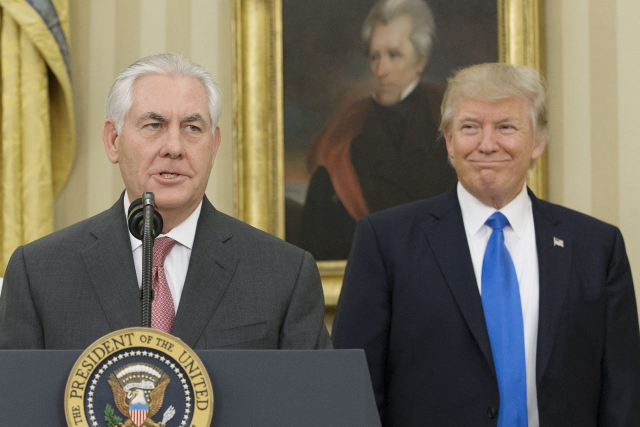 Minister van Buitenlandse Zaken Rex Tillerson en President Donald J. Trump