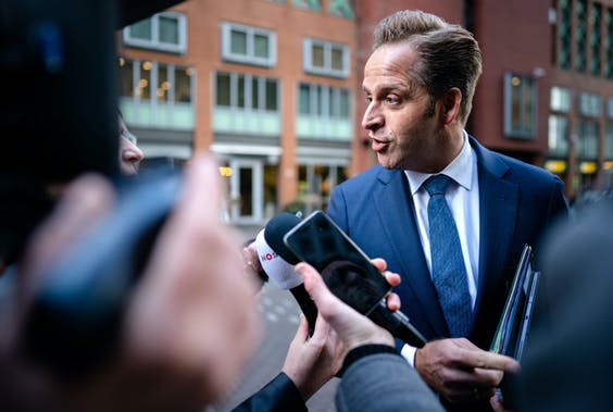 Minister Hugo de Jonge van Volksgezondheid, Welzijn en Sport