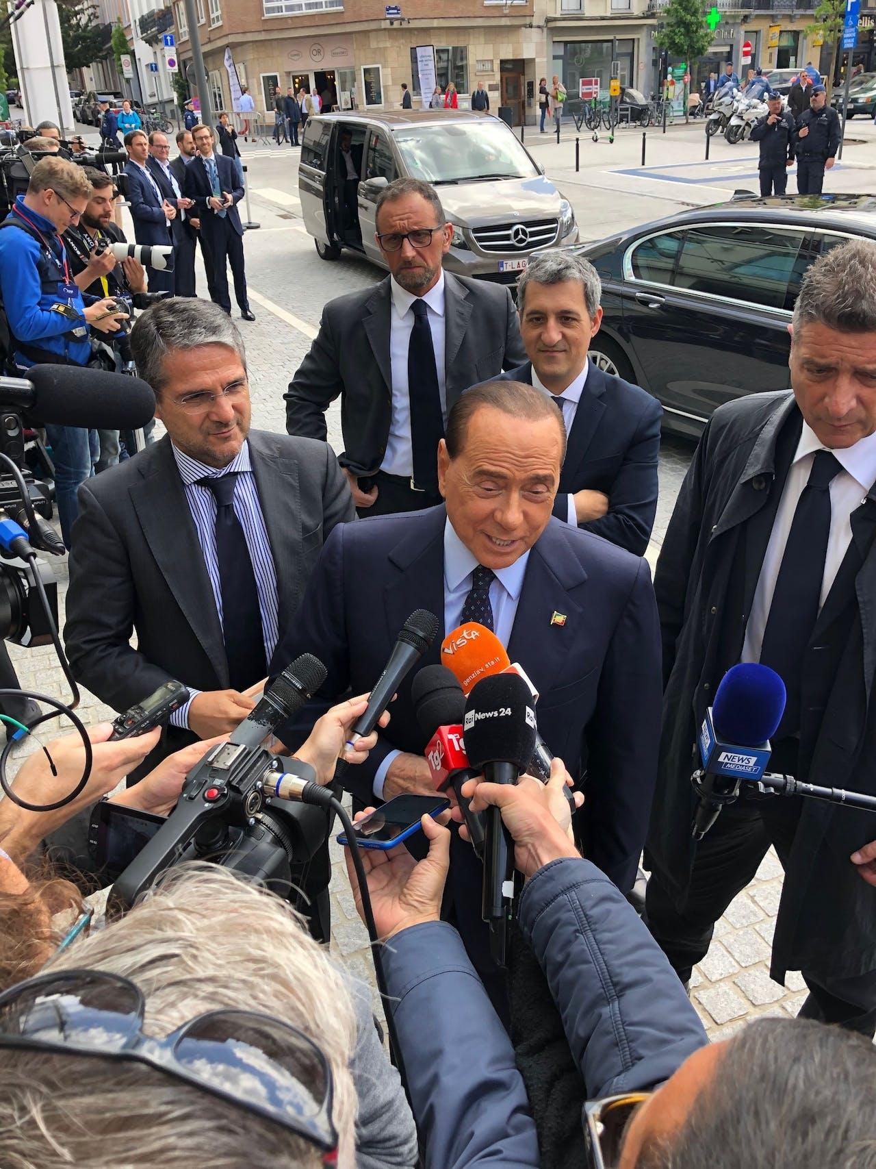 Silvio Berlusconi in Brussel. Afgelopen week voerde de oud-premier campagne samen met Lega-leider Matteo Salvini.