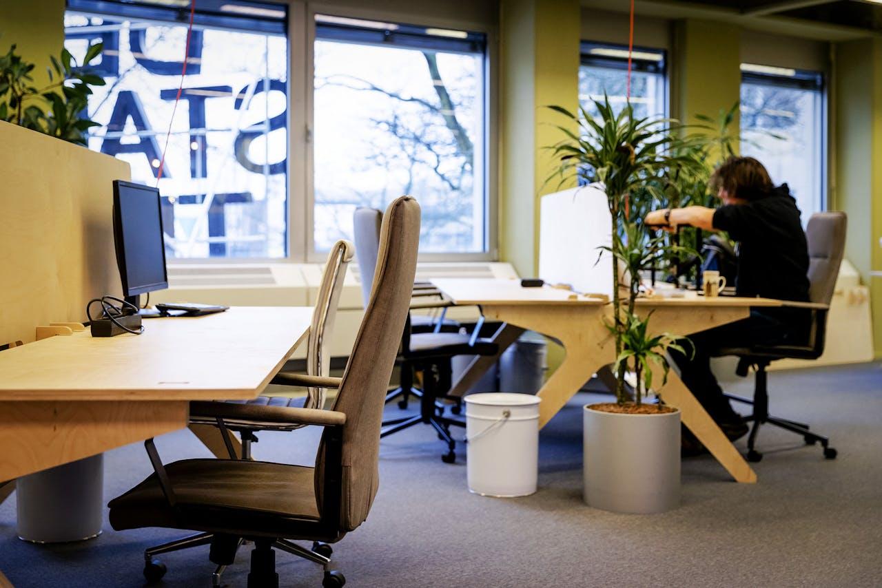 2017-12-13 11:25:53 UTRECHT - In de kantoortuin van De Stadstuin in Utrecht zijn zzp'ers aan het werk. Het aantal eenpersoonsbedrijven in de vier grote steden is in tien jaar meer dan verdubbeld, van 81 duizend in 2007 tot 165 duizend in 2017. Dat meldt het CBS in de nieuwste editie van de Regionale Economie. ANP ROBIN VAN LONKHUIJSEN