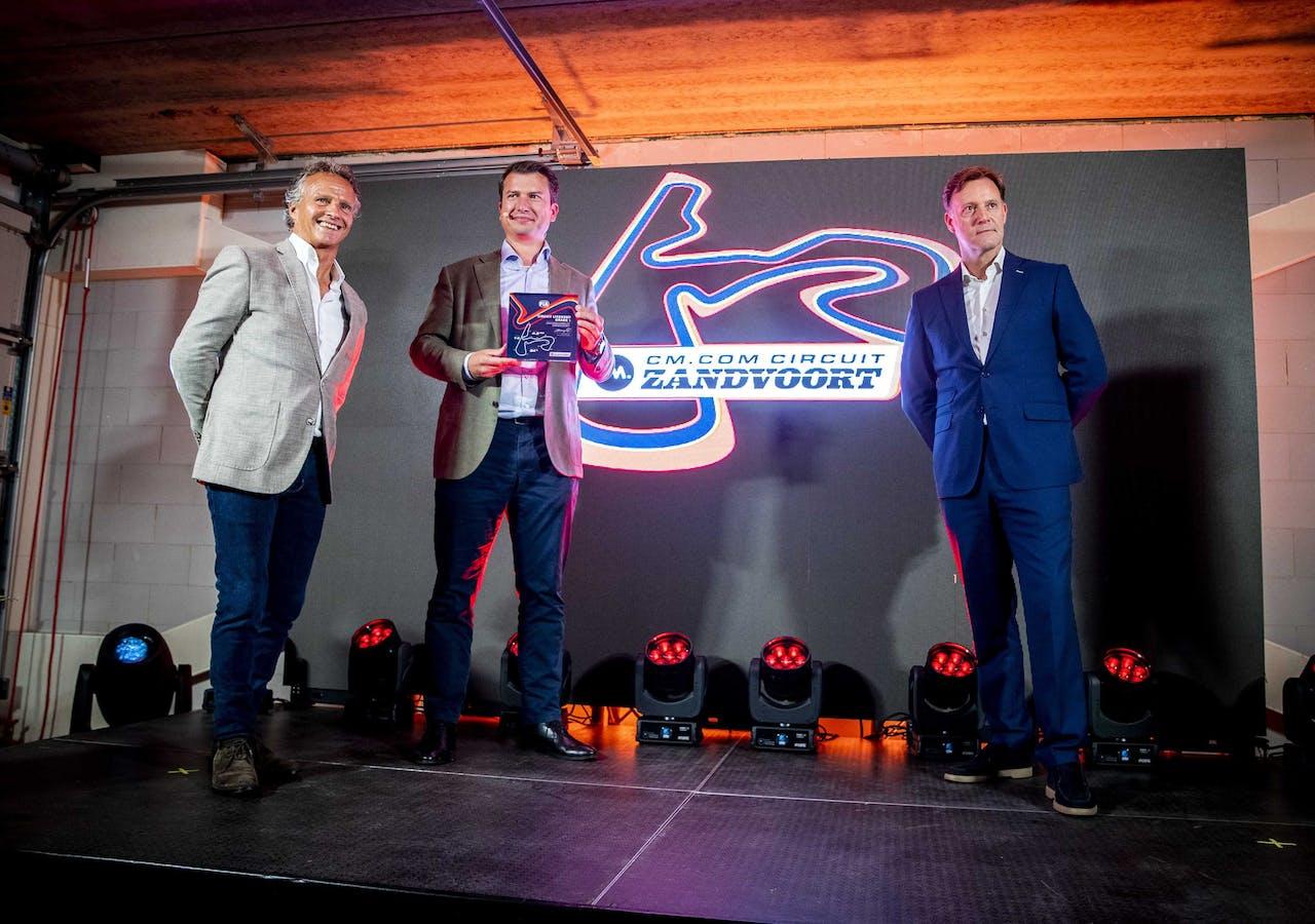 Jan Lammers (Dutch GP), Jeroen van Glabbeek (CM.com) en Robert van Overdijk (Circuit Zandvoort)